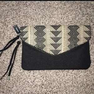 Express Black Multi-Color Clutch Purse NWT